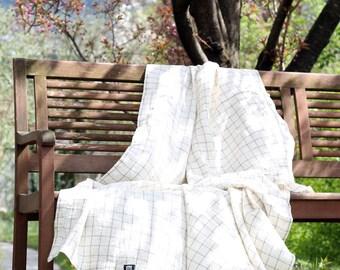 Linen summer blanket, light linen throw, linen throw blanket, soft linen bedspread, linen beach/picnic blanket, linen bed cover