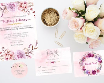 Wedding Invitation Suite,  Pink and Gold Wedding Invitation Suite, Bridal Shower Invitation, Watercolor Invitation- DIGITAL