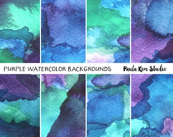 Purple and Blue Watercolor Background Digital Paper Instant Download for Commercial Use