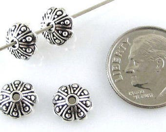 TierraCast Pewter Bead Caps-Antique Silver Oasis (4)