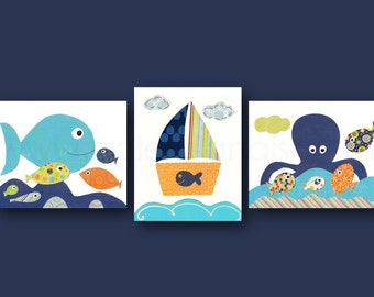 Nautical nursery art, Boat fish octopus sea Nursery art baby - Nautical wall art baby art  Blue green navy bathroom decor Set of 3 Prints