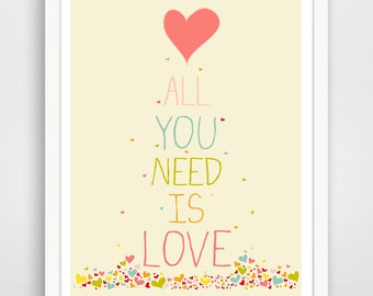 All You Need Is Love Print - Heart Wall Art - Heart Wall Decor - Modern Love - Heart Art Print - Heart Artwork - Baby Wall Art Decor