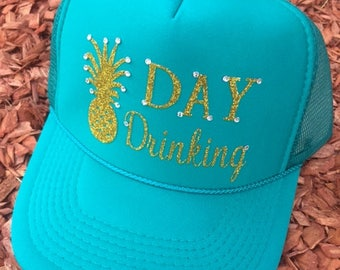 Day Drinking Trucker Hat | Summer Hat | Trucker Hat | Glitter Hat | Mom Life Hat | Lake Hat | Beach Hat | Mother's Day Gifts |