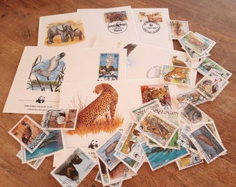 50 Animal Postage Stamps + 5 First Day Covers. World Wildlife Fund.