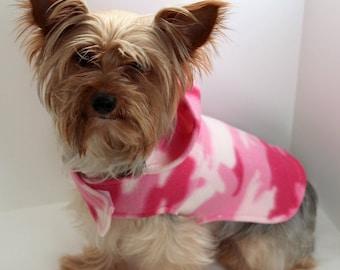 Pink Camo Dog Hoodie, XS Fleece Dog Coat, Camouflage Dog Jacket, Fashion dog clothes