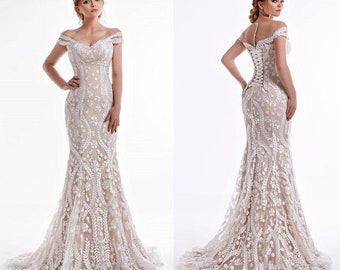 Off The Shoulder Wedding Dress, wedding dress, ivory wedding dress, boho wedding dress, bohemian wedding dress, wedding dresses, beach dress