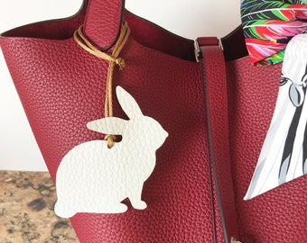 Leather Bunny Rabbit Bag Charm