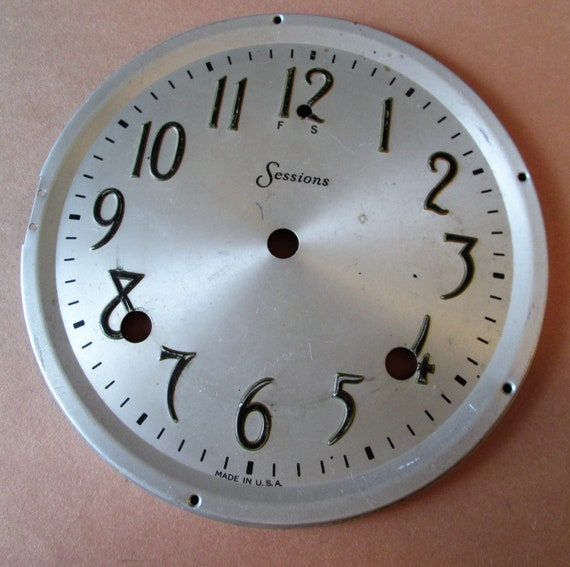 "1 6 1/2"" Sessions Clock Co. Aluminum Clock Dial with 3/4"" Tall Numbers for your Clock Projects, Steampunk Art..."