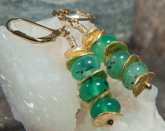 Chrysoprase pendant earrings with elements of gold-plated 925 silver