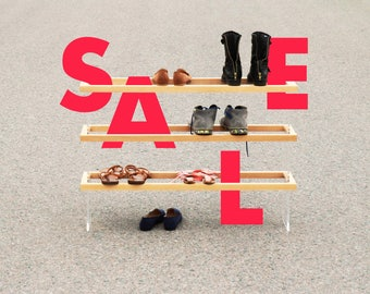 ON SALE! FLOAT 3F shoe rack handmade from solid wood / acrylic glass / blackened steel / natural oil