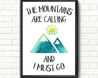 Mountains are calling Travel printable art Travel quote print Mountains wall art print Adventure poster Watercolor nursery decor