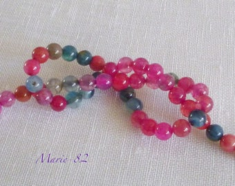 30 Agate 6 mm - color Tourmaline beads