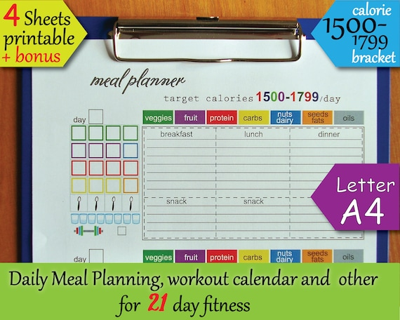 Day Fitness Printables Tracking Sheet  Calorie Bracket