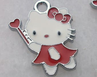 1 red magic wand with heart 19x23mm enamel enamel in silvered Metal cat pendant