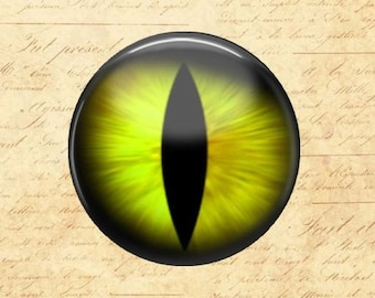 Yellow Cat's Eye - Glass Image Cabochon - Choice of 12mm, 16mm, 18mm, 20mm, 25mm and 30mm Round