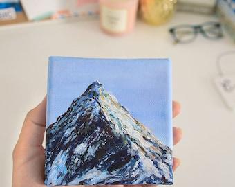 "Mountain Painting Art Acrylic Original // ""4 x 4"" canvas"