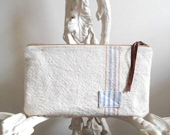 Large grain sack, stripe utility pouch - eco vintage fabrics