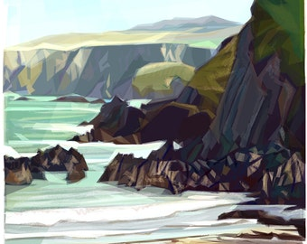 Under the Cliff  .. mounted giclee print