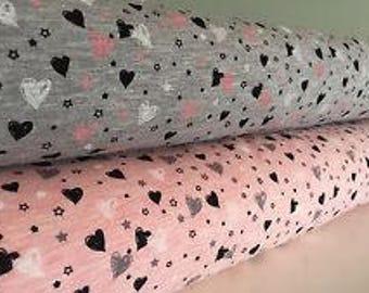 Heart print Cotton Mix Jersey Stretch Fabric **Baby Nursery Children** Pink or Grey