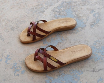 vintage 1970s Sandals 70s Deadstock Leather Flip Flops Thong Sandals - Rust Brown Strappy Slide Sandals Sz 10 41