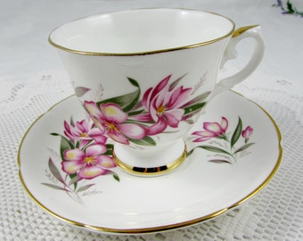 Royal Grafton Vintage Tea Cup and Saucer with Pink Flowers, English Bone China