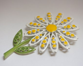 Vintage Coro Enameled Daisy Brooch, Flower Brooch, Flower Pin, Daisy Pin, Coro Pin Brooches, Enamel Jewelry, Enamel Pin, Enamel Brooch