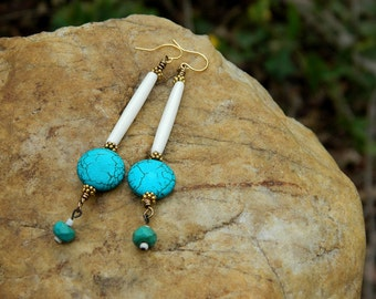 Turquoise and Natural Bone Boho Dangle Earrings