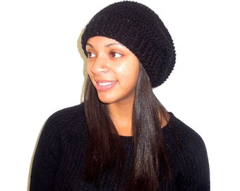 Crochet Slouchy Hat, Black Hat, Ribbed, Women, Men, Teen, Tam,  Adult, Ready To Ship,