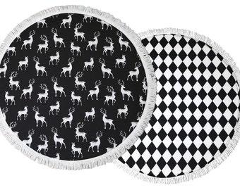 SALE Baby Play Mat / Padded Play Mat / Black And White Playmat / Monochrome Floor Mat / Black Deers / Black Diamonds / Baby Gift / Baby Rug