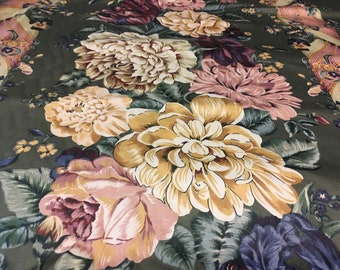 """Vintage - """"Salome"""" 5th avenue designs large climbing floral panel stripe with twisted ribbon on lightweight super soft sateen"""