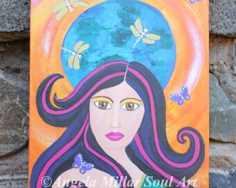 "Goddess painting - Earth Goddess - Mother Earth - Mother nature - Greek Mythology -Goddess Gaia wall art -Goddess home decor - 12x16"" Canvas"