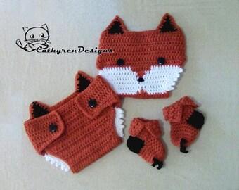 Baby Fox Diaper Cover, Socks/Booties Set, Photo prop - INSTANT DOWNLOAD Crochet Pattern
