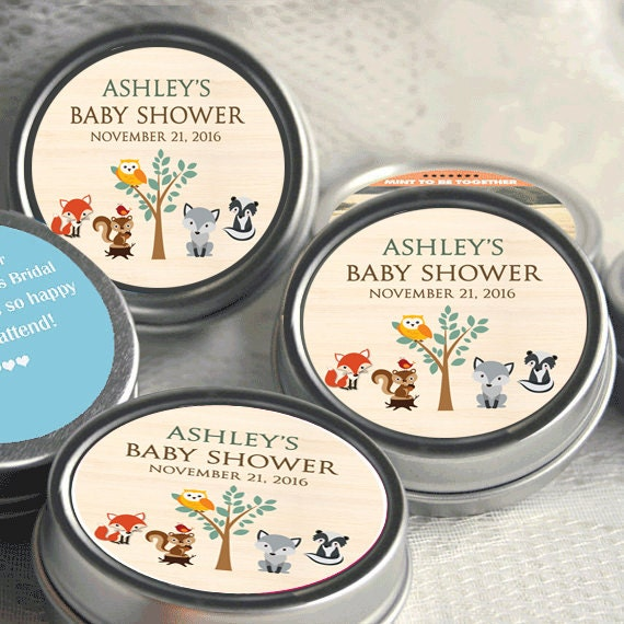12 Woodlands Baby Shower Mint Tins   Baby Animals Woodlands   Baby Animals  Favors   Baby Shower Favors   Woodlands Baby Shower Favors