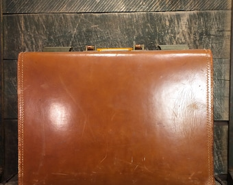 Vintage Leather Briefcase - Cowhide Leather Suitcase, home decor