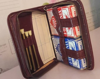 2 decks of cards, Case with two packs of playing cards, gift, pencils, score cards, Bridge set, vintage travel card game companion.