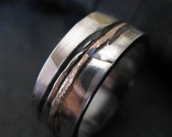 Mens Wedding Band Mens Wedding Ring Oxidized Ring Black Gold Ring Rustic Ring Unique Wedding Band Viking Wedding Ring Mens Wedding Bands