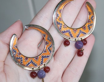 Cresent Moon Isle of Skye Tribal Cloisonne Earrings