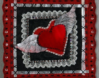 Art Quilt Pattern Corazon I: Winged Heart 8x8""