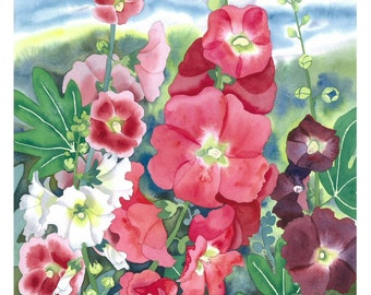 Botanical Flower Watercolour Hollyhocks - Limited Edition Giclee fine art print