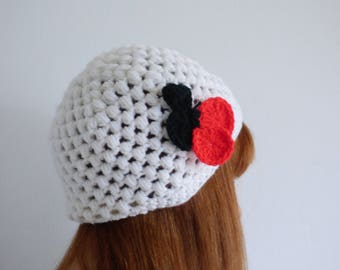 White winter beanie hat with cherries, cute cozy knit hat, white warm soft hat, hand knit hat
