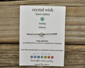 Chakra Wish Bracelet, Rose Quartz, Heart Chakra, Hemp, Crystal Healing, Meditation Bracelet, Yoga Bracelet, Intent, Enlightenment