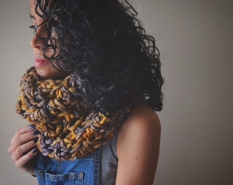 AVAILABLE NOW// Black Witch Moth Cowl - chunky cowl, infinity scarf, warm, soft, brown, ochre, grey