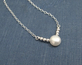 Single Pearl Necklace / Tiny Sterling Silver Beads / Freshwater Pearl