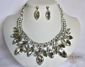Crystal Bridal Jewelry Set, Vintage Inspired Bridal Necklace, Rhinestone Statement Necklace, Chunky Necklace, Wedding Jewelry
