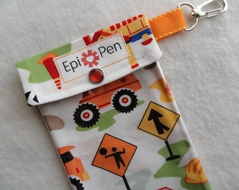 Epi Pen Pouch 4x8 Holds 2 Allergy Pens w/ Clear Pocket and Clip ID Card Included - Boys Dig It Construction Fabric