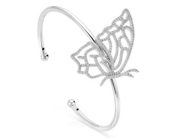 Landed butterfly bangle - silver