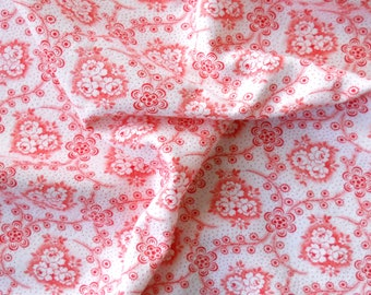 red floral fabric french fabric antique patchwork quilting red flowers cotton vintage cotton fabric 107
