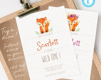 Fox First Birthday Invitation, Fox Birthday Invitation, Fox Party Invitation, Fox Invitation INSTANT DOWNLOAD you personalize at home
