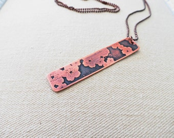 Cherry blossom necklace, flower necklace, copper jewelry, etched metal