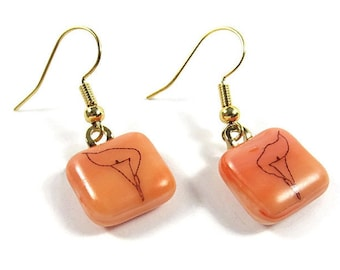 Orange Calla Lily Dangle Earrings Handmade Fused Glass Gold Wires